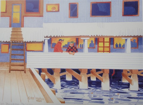 Rie Munoz - Fish Buyers, Pelican Lithograph